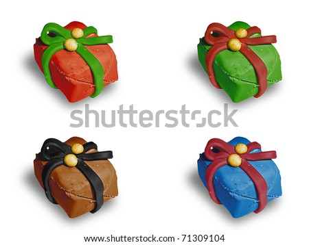 four colorful gift (red, greeb, brown, blue), isolated on white background. - stock photo