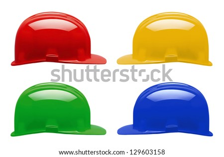 four colorful helmets