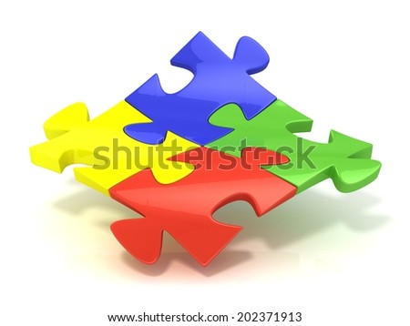 Four colorful jigsaw puzzle pieces banded. Isolated on a white background