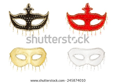 Four colorful masks isolated on white, collage - stock photo