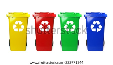 Four colorful recycle bins on white - stock photo