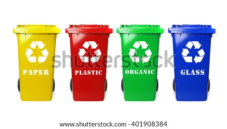 Four colorful recycle bins on white