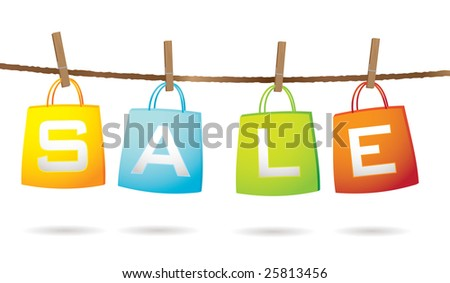 Four colorful shopping bags hanging on a washing line with sale text - stock photo