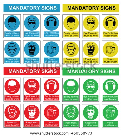 Four colour mandatory health and safety sign collection isolated on white background