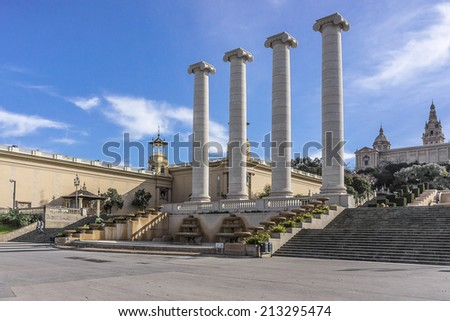 Four Columns (Les Quatre Columnes?) are four Ionic columns originally created by Josep Puig i Cadafalch in Barcelona, Catalonia. They were erected in 1919 and symbolized four stripes of Catalan flag.