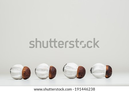 Four Cookies in line, form of mushrooms, isolated on a white background