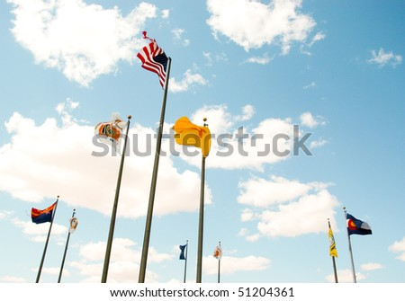 Four Corners monument flags - stock photo