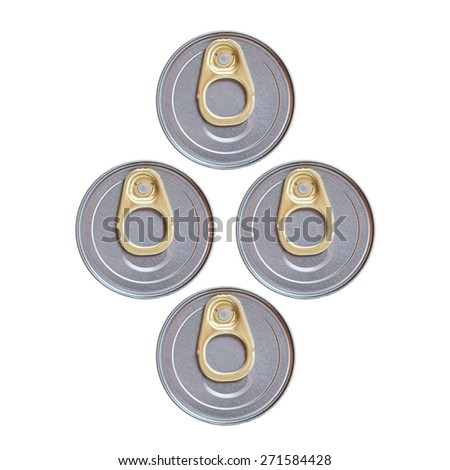 Four cover of canned top view isolated on white background - stock photo