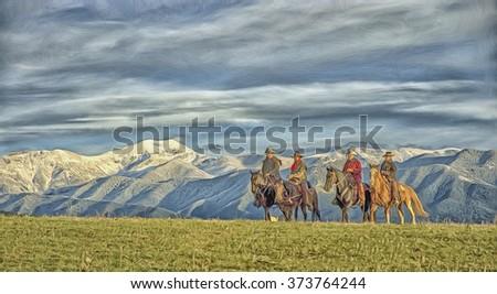 Four cowboys on horseback with Montana mountain range backdrop,computer art - stock photo