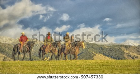 Four cowboys riding the range in Montana USA,digital oil painting