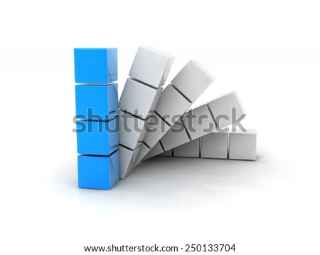 four cube placed observably in a group of white cubes. - stock photo