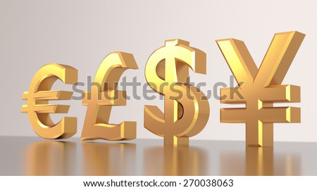 Four currency symbols made of gold on reflective background.
