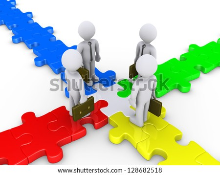 Four 3d businessmen meet at the center of puzzle crossroad - stock photo