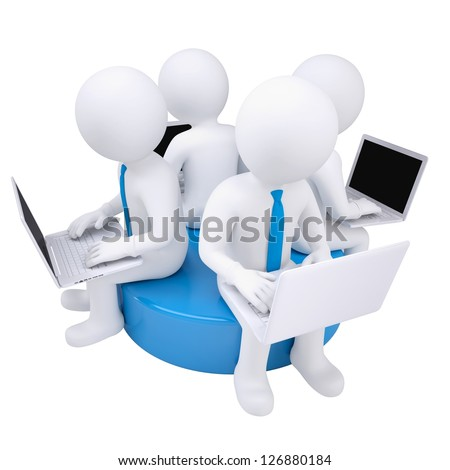 Four 3d man with laptop sitting on a blue disk. Isolated render on a white background - stock photo