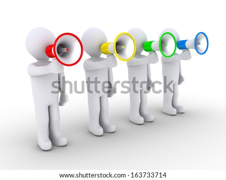 Four 3d people are speaking to different colored megaphones - stock photo