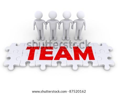 Four 3d people holding hands and some puzzle pieces spell the word team - stock photo