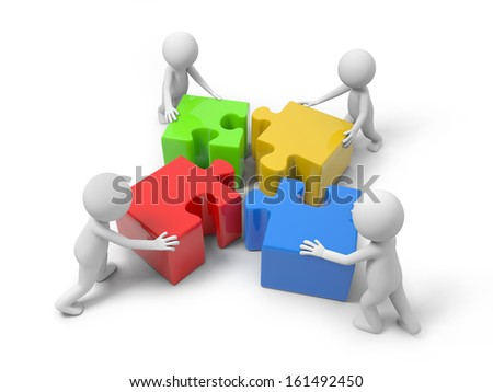 Four 3d people putting the 4 puzzle pieces together - stock photo