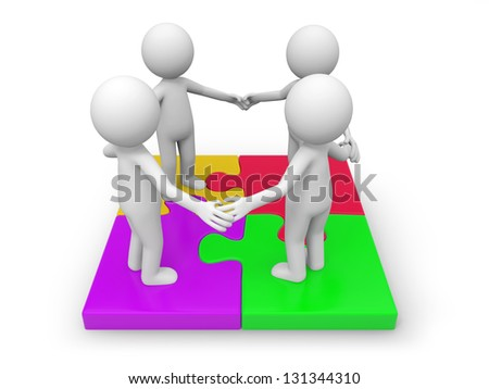 Four 3d people standing on a puzzle - stock photo