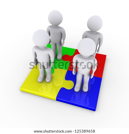 Four 3d people standing on connected puzzle pieces