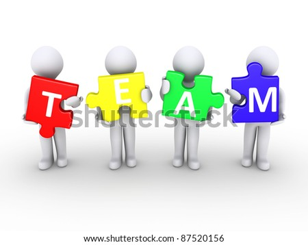 Four 3d persons holding puzzle pieces that form the word team