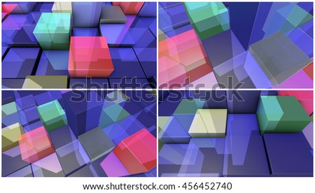 four 3d render backgrounds made of transparent boxes - stock photo