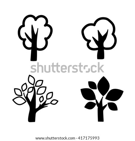 four deciduous black trees icon set raster copy.