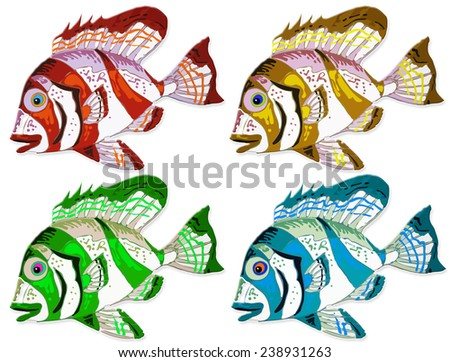 four design of colorful fish