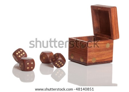 Four die and box with reflection on white isolated background