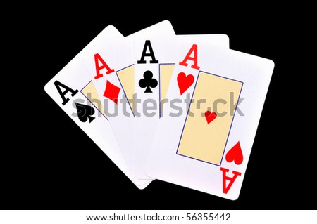 four different aces on the black background - stock photo