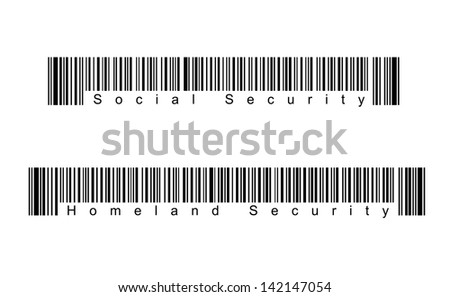 Four Different Bar Codes Isolated on White Background. - stock photo