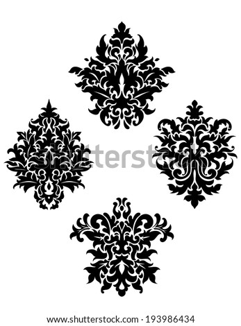 Four different black and white foliate arabesque motifs arranged in a diamond pattern on a white background. Vector version also available in gallery - stock photo