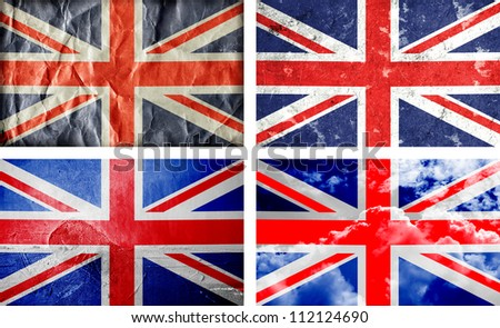 Four different British grunge flags - stock photo