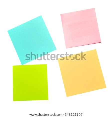 Four different color paper stickers isolated on white background