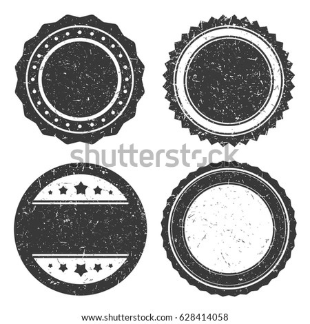 Four different grunge badge template, black scratched circle stamp old styled.