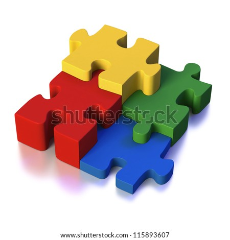 Four different parts of a puzzle or solution as red, green, blue and yellow pieces on white background