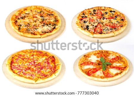 Four different pizzas Collage