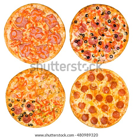 four different pizzas in one set, top view, isolated on white