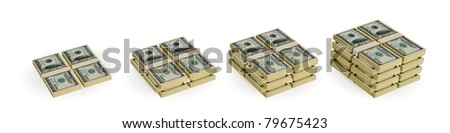 Four different size dollar stacks. Earnings growth concept. 3d rendered. Isolated on white.