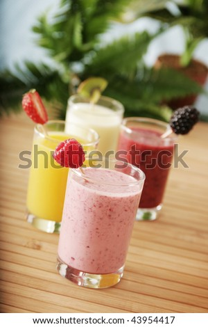 Four different smoothies - stock photo