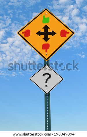 four directions intersection road sign, good and bad choice concept - stock photo