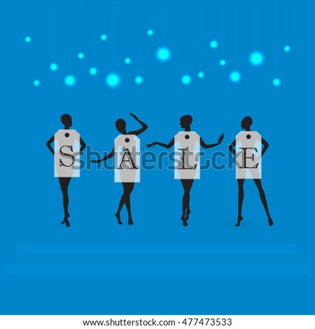 Four dummy wearing labels with  Sale on blue background . Raster illustration .