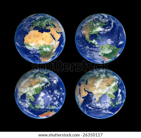 Four Earth Globes with clouds, high res pictures - stock photo