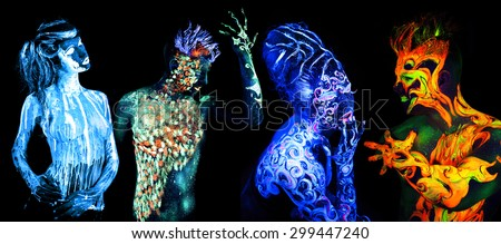 Four elements. Body art glowing in ultraviolet light, isolated on black background - stock photo