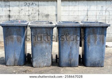 Four empty garbage bin / Garbage bin - stock photo