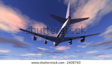 Four-engined commercial jet aircraft at low altitude flying in early evening