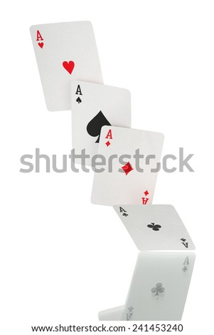 four falling aces isolated on white - stock photo