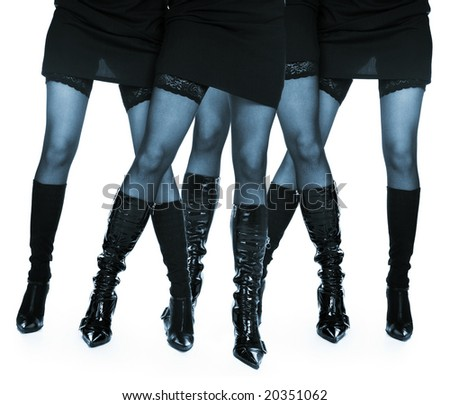 Four female legs in lace stockings on a white background