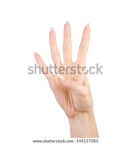 Four  finger sign as hand gesture isolated over white background.