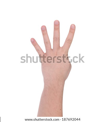 Four fingers. Man's hand. Isolated on a white background.
