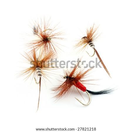 Four fishing flies - stock photo